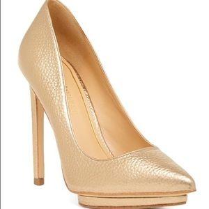"Enzo Angiolini • Gold ""Kamrin"" Chic Platform Heels"